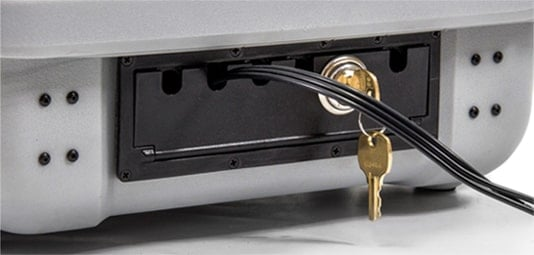case with a key lock door and access channel for power cable