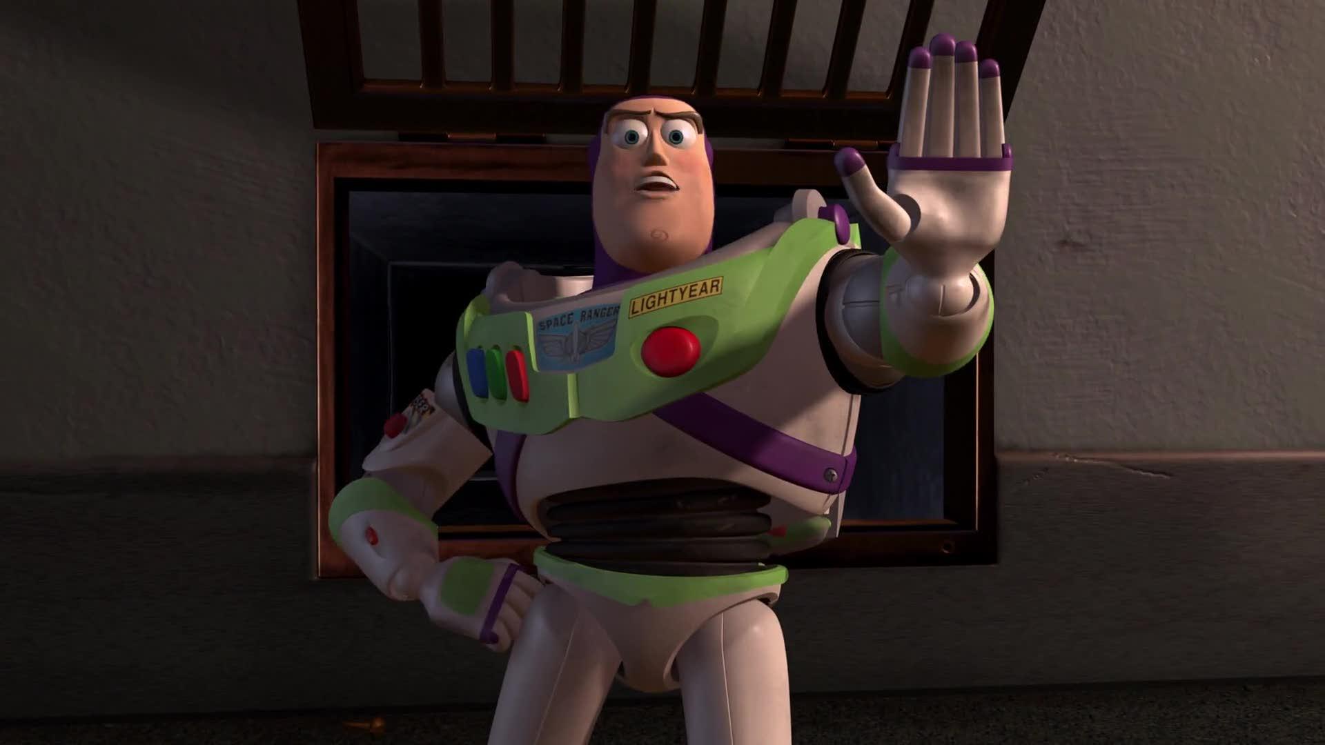 """Buzz Lightyear saying """"Halt"""""""